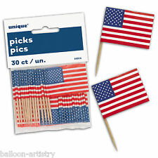 30 America American USA Star Stripes Patriotic Party Snack Flag Picks