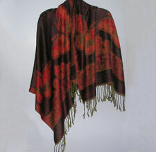 Reversible Black & Red Orange Butterfly Scarf/Shawl