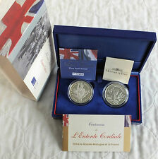 2004 intesa cordiale 2 MONETA ARGENTO PROOF SET-COMPLETO