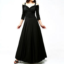 NEW Evanese Women's Elegant Long Dress 3/4 sleeve Black Medium