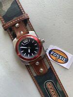 FOSSIL Men Watch WB 1042 Leather Band Analog Black Dial Quartz Genuine New