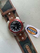 FOSSIL Men Watch WB 1042 Leather Band Analog Black Dial Quartz Genuine New