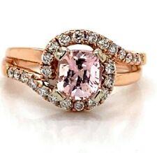 Genuine Morganite Diamond Ring with 24 diamonds set in 14 karat rose gold