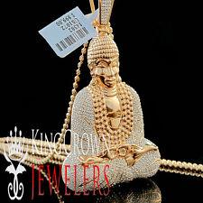 14K Rose Gold On Sterling Silver Lab Diamonds Meditating Buddha Pendant 2.65''