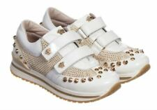 Rare Young Versace White Patent Leather Gold Studded Trainers / Gold Medusa