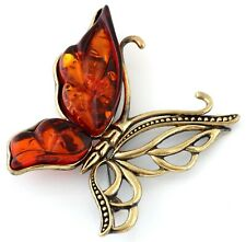 """Butterfly Brass Bronze Brooch Pin Baltic Amber Figurine Vintage Style 2"""""""