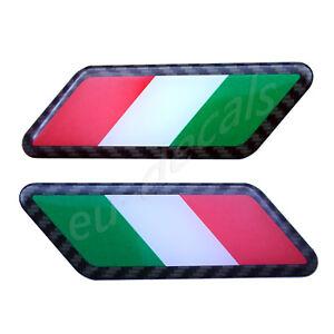 2X Carbon fiber outline Italian flags arrow 3D Decal domed for Ferrari Maserati