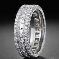 Silver Plated Bridal CZ Princess Cut Pave Eternity Wedding Band Ring 4-10