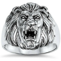 Lion Ring Solid 925 Sterling Silver Lion Head Ring Unisex Lion Band Plain Simple