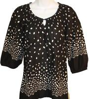 Ann Taylor Loft Womens Ladies Black White Polka Dot 3/4 Sleeve Blouse Top Size 6