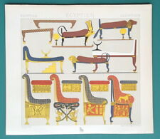EGYPT Furniture Examples XX Dynasty - COLOR Litho Print A. Racinet