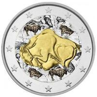 2 Euro Gedenkmünze Spanien 2014 coloriert / mit Farbe - Farbmünze Altamira