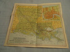 ANTIQUE LOUISIANA MAP National Geographic 1930