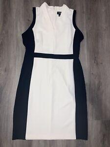 LIZ CLAIBORNE Career Woman White And Black Dress Sleeveless Sheath Size 12 $59
