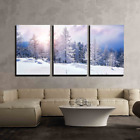 wall26 - 3 Piece Canvas Wall Art - Snow Covered Trees in The Mountains at Sunset