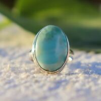 CARIBBEAN LARIMAR NATURAL GEMSTONE 925 STERLING SILVER HANDMADE JEWELRY RING