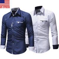 US Men Long Sleeve Button Down T-shirt Tops Slim Fit Casual Dress Formal Shirts