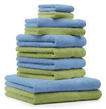 Betz lot de 10 serviettes Premium: vert pomme & bleu clair, 100% coton