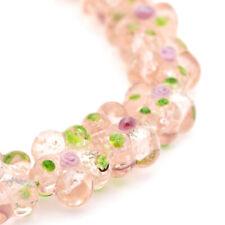 20pc/Strd Handmade Lampwork Glass Beads Flower Silver Foil Spacer PeachPuff 14mm