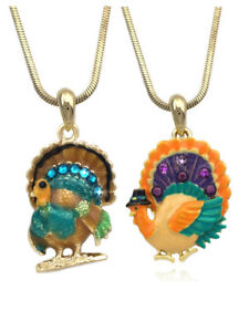 Pilgrim Hat Orange Turkey Pendant Necklace Set Thanksgiving Halloween Jewelry