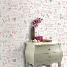 LIVE LOVE LAUGH PINK WHITE QUALITY FEATURE DESIGNER WALLPAPER RASCH 216707