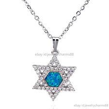 "1pc Girl Australia CZ Hexagon Star of David Blue Opal Necklace Silver Choker 16"""