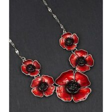 GIFT BOXED Equilibrium Silver Plated Large 5 Red Poppy Necklace Diamante Poppies