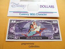 DISNEY NOVELTY DOLLAR *  ALADDIN * 1992-1996 + DISNEY DOLLAR ENVELOPE