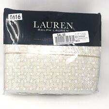 Ralph Lauren Spencer Basketweave Cotton Sateen Cali King Fitted Flat Sheet Wheat