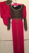 Renaissance Medieval Lady 2 pc Costume Fancy Dress & Headpiece-New-Red-Gold Blk
