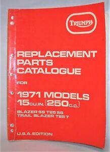 TRIUMPH REPLACEMENT PARTS CATALOG 1971 250 TRAIL BLAZER T25 T SS FACTORY MANUAL