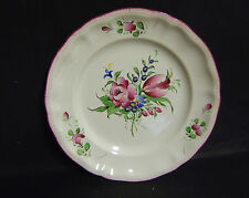 ASSIETTE DECORATIVE  FAIENCE  ROSE PEINT A LA MAIN ST CLEMENT DECORATEUR MASSON