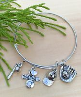 I Love Baseball Silver tone charms Expandable Bangle Bracelet