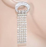 ORECCHINI donna STRASS ARGENTO cristalli brillantini pendenti earrings 1155