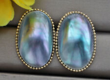 Z10933 Huge 32mm Blue Oval Mabe Pearl Stud Earring