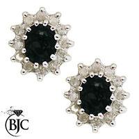 BJC 9 ct Oro Amarillo Natural Zafiro & Diamante Pendientes De Presión Con Racimo