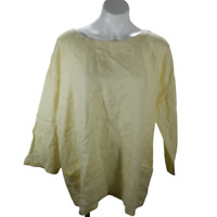 Eileen Fisher Women Large Casual Blouse Yellow Long Sleeve Mid Button Back 02937