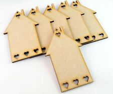 6x MDF Wooden House Home Shapes Tags 90mm x 55 mm embellishments Craft Blank