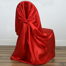 Red SATIN UNIVERSAL Pillowcase CHAIR COVERS Wedding Party Reception Dinner SALE