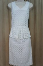 Ellen Tracy Dress Sz 10 White Eyelet Lace Peplum Cotton Sheath Career Cocktail