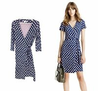 Diane von Furstenberg Size 8 New Julian Two Silk Wrap Dress Blue Pink