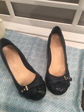 Cole Haan Womens Leather Low Wedge Cap Toe Ballet Shoes Black Size 7B