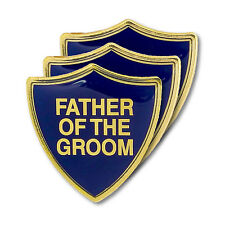 Father Of The Groom Blue Wedding Shield Badge