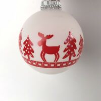 Krebs Glass Christmas Ornaments - Set of 3 Red Moose Snow Trees Handmade Germany