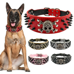 Spiked Studded Leather Pet Collar for Medium Large Dog Pitbull Boxer Mastiff SXL