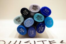 NEW Copic Sketch Markers - Lot of 10 BLUE colors, dual tip Art Marker LotN20