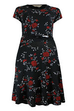 Ladies Emily / Simply Be Plus Size Black Red Floral Skater Dress 16 - 26
