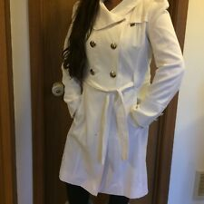 Guess Women's Double Breasted Collar Trench Coat Outerwear White Large L