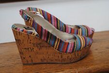 women's size 6 REPORT Opal Wedge Peep Toe Tapestry Shoes Slingback Fun Colors!