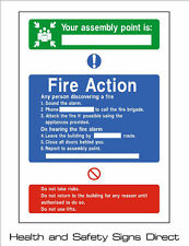 FIRE ACTION YOUR ASSEMBLY POINT PLASTIC RIGID SIGN - 210 x 297mm - A4 *CHEAP*